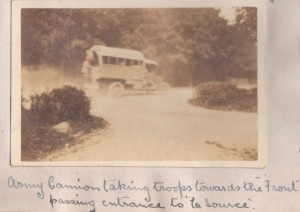 Army vehicle taking troops to the front