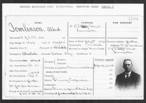 Albert Tomlinson's Friends Ambulance Unit Record Card