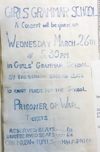 Poster advertising fundraising concert for school PoW, March 1917