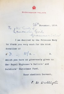 Letter from Queen Mary concerning fundraising efforts for the Sailors' and Soldiers' Christmas Fund, 1914