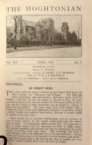Editorial, The Hoghtonian, vol XIV, Apr 1935 Courtesy of Lancashire Archives, Archive ref: SMPR/66/9/1/1 & SMPR/66/9/1/2