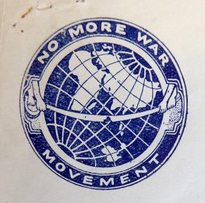 No More War logo Courtesy of Labour History Archive and Study Centre (LHASC), Archive ref: LP/JSM/WR/1.i