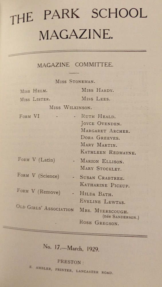 Park School Magazine No 17, Mar 1929 Courtesy of Lancashire Archives