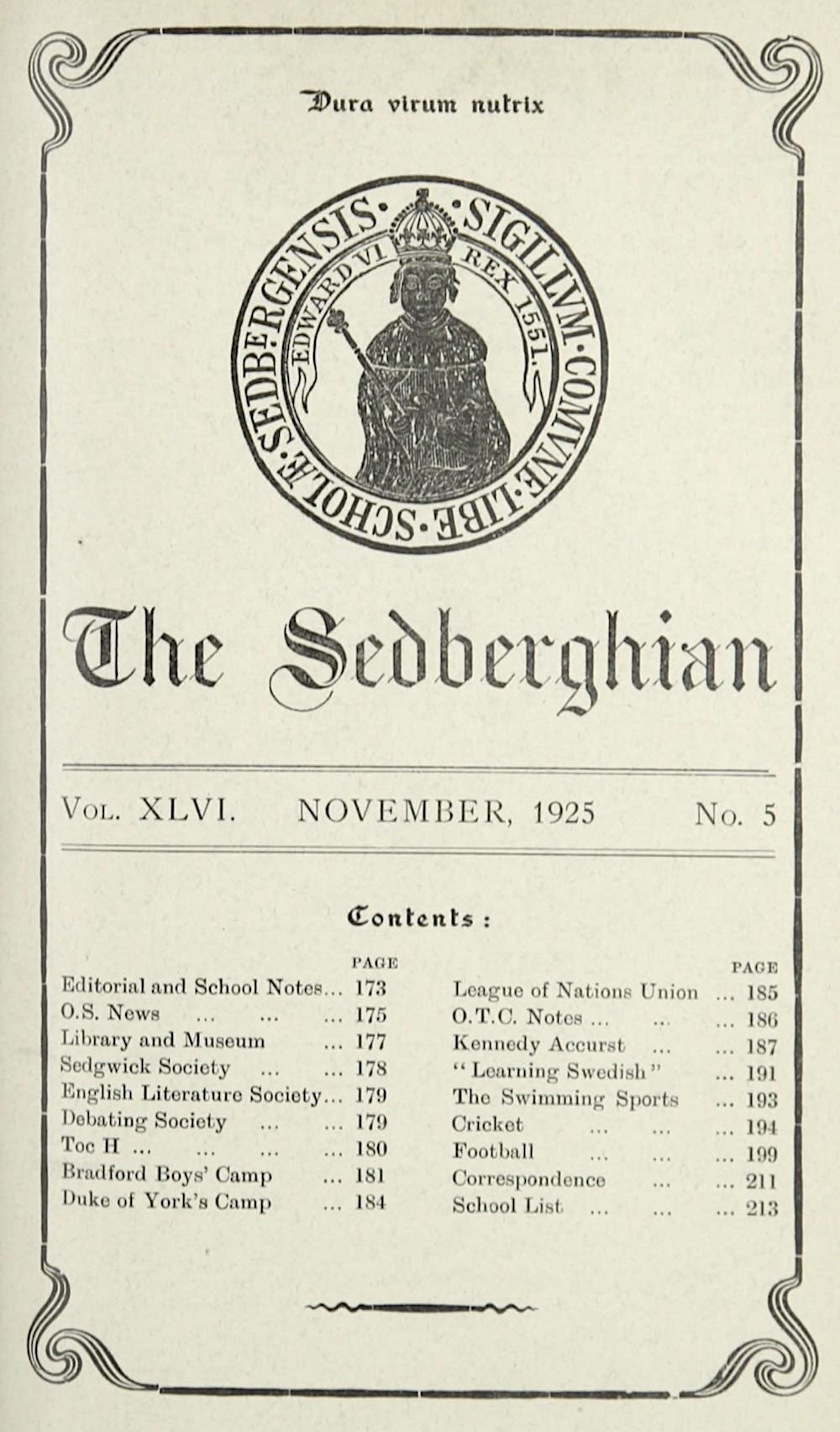 The Sedberghian No. 5, Nov 1925 Courtesy of Sedbergh School